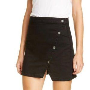 WE THE FREE Denim Mini Skirt Snap Buttons Black 12